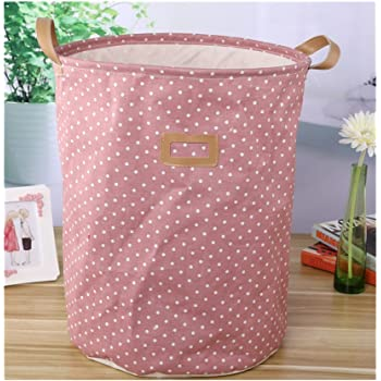 White Saint Kaiko Cotton Linen Laundry Hamper Foldable with Lid Laundry Basket Laundry Bin Round Storage Basket for Nursery Toys Clothing with Drawstring Cover