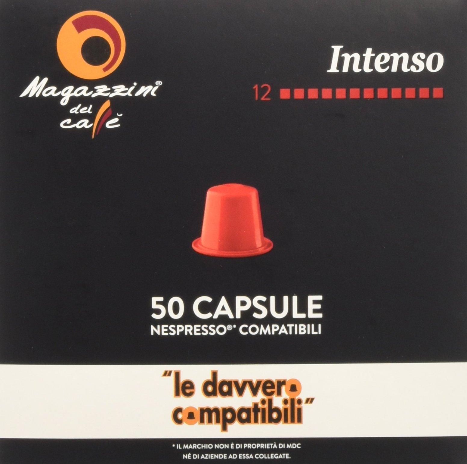 Magazzini del Caffè, 50 Capsule Compatibili Nespresso - Miscela Intenso - Intensità 12 con Retrogusto di Cioccolato… 2 spesavip