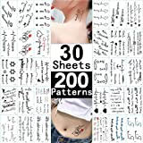 Tiny Word Temporary Tattoos 30 Sheets Fake Black Tattoo Stickers for Women Men kids Boys Girls Adults Small Temp Tattoo Paper