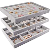 Mebbay Stackable Velvet Jewelry Trays Organizer, Jewelry Storage Display Trays with Full Artificial Leather Cover for Drawer,