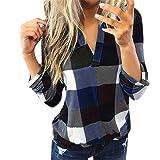 Amaeen Blusa de Mujer Camisa de Manga Larga de algodón Informal Camisa a Cuadros con Cuello en V Chaqueta Delgada de Moda Top