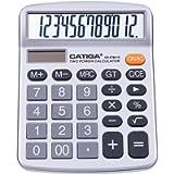 Calcolatrice da tavolo a 12 cifre con ampio display LCD e pulsante sensibile, doppia alimentazione solare e batteria…