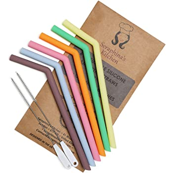 Reusable Silicone Straws BPA Free – (x6) Smoothie Width - Extra Wide, Eco Friendly Drinking | Premium Food-Grade Certified | 2 x Cleaning Brushes, Travel Case, Dishwasher Safe | Say NO to Plastic!