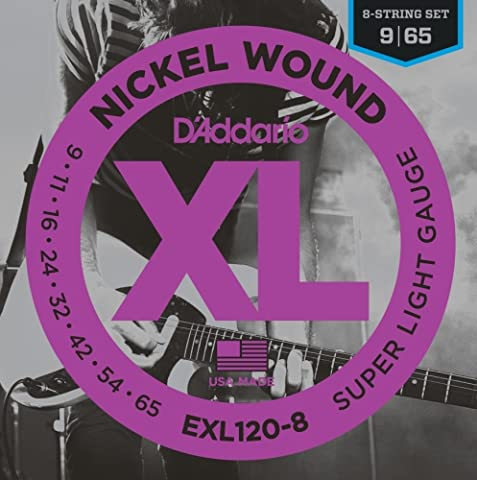 D'Addario Cordes en nickel pour guitare électrique 8 cordes D'Addario EXL120-8, Super Light, 9-65