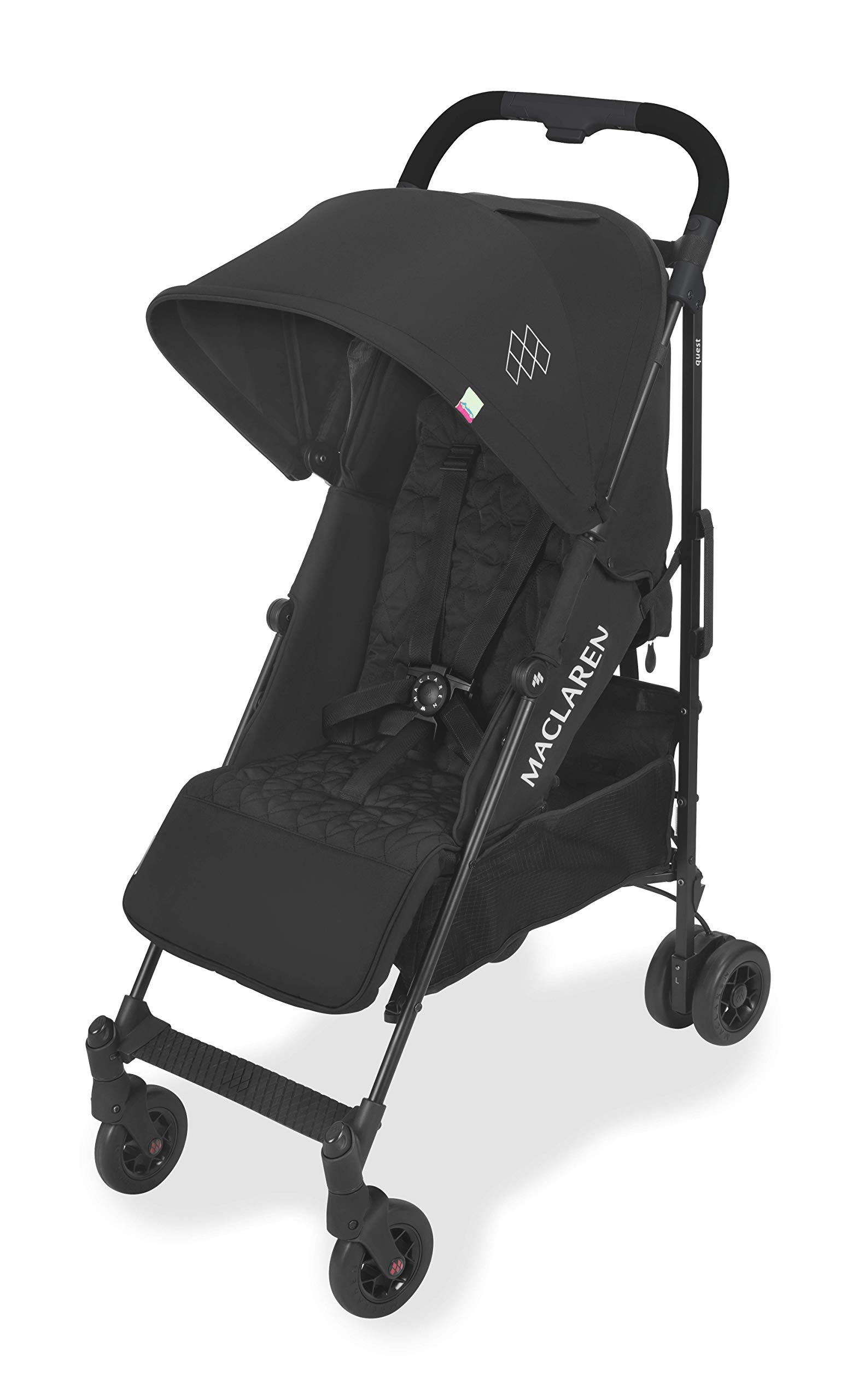 Maclaren Quest Arc Stroller- Ideal for Newborns up to 25kg with extendable UPF 50+/Waterproof Hood, Multi-Position seat and 4-Wheel Suspension. Maclaren Carrycot Compatible. Accessories in The Box Maclaren Lightweight and compact. ideal for newborns and children up to 25kg. you can do it all with one-hand- open, close, push and adjust the seat, footrest and front safety lock Comfy and perfect for travel. the quest arc's padded seat reclines into 4 positions and converts into a new-born safety system. coupled with ultra light flat-free eva tires and all wheel suspension Smart product for active parents. compatible with the maclaren carrycot. all maclaren strollers have waterproof/ upf 50+ hoods to protect from the elements and machine washable seats to keep tidy 1
