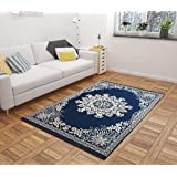Harshika Home Furnishing Floral Carpet (Blue, Chenille, 5 X 7 Feet)