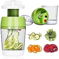 TOCYORIC Coupe Légumes Spirale avec Boîte, 5 en 1 Spiraliseur de Légumes Spiralizer Legume Spaghetti Mandoline Cuisine…