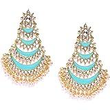 Zaveri Pearls Enamelling Mutiple Layered Chandbali Earring For Women-ZPFK6706