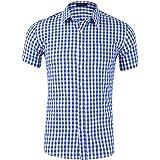 Anfooto Camisa Hombre Manga Corta a Cuadros Multicolores Botón Bolsillo Casual