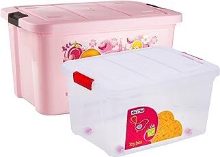 Multi Purpose Kids Toy Storage Box (Pack of 2) - Plastic (50 LTR. Pink & 25 LTR. Transparent Combo) (NY-001556-PK50-TP25)