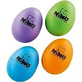 Nino Percussion NINOSET540-2 - Maracas, 4 unidades, diseño de huevo, Morado, Berenjena/Verde, Hierba/Naranja/, Azul Cielo