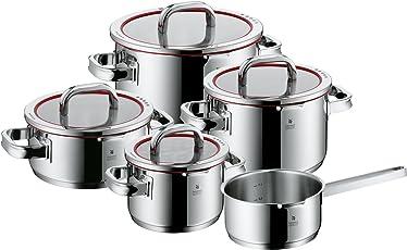 WMF Topf-Set Function 4 Innenskalierung Deckel mit 4 Abgießfunktionen Made in Germany Glasdeckel Cromargan Edelstahl poliert induktionsgeeignet spülmaschinengeeignet