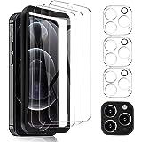 MSOVA Kompatibel med iPhone 12 Pro Max skärmskydd, skärmskydd 3-pack kameralinsskydd 3-pack, 9H High Definition, härdat glas