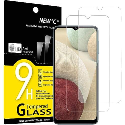 NEW'C 2 Pezzi, Vetro Temperato per Samsung Galaxy A12, Galaxy A02s, Pellicola Prottetiva Anti Graffio, Anti-Impronte, Senza Bolle, Durezza 9H, 0,33mm Ultra Trasparente, Ultra Resistente