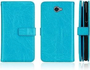 BONROY Huawei Y7 / Y7 Prime (2017)   Hülle mit Karten-Fach 360° Book Klapp-Hülle Handytasche Kunst-Leder Handyhülle für Huawei Y7 / Y7 Prime (2017) Case Flip Cover Schutzhülle Tasche - (Dikas-9 Karte Blau)