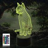 Kat 3D lamp, CooPark Dier Illusion Hologram nachtlampje met 16 kleuren veranderen Afstandsbediening Dimmerfunctie, Dier thema