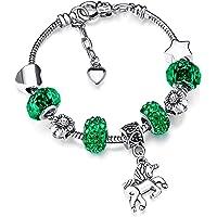 Bracelet Breloque de Licorne Bracelet Strass Cristal Brillant avec Ensemble de Cartes-Cadeaux Licorne pour Fille Dame