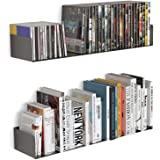 """Livzing 24"""" Floating Heavy Metal Book Shelf – Wall Mount Rack –CD DVD Display Storage Bookcase for Home Decor Items ( Set of"""