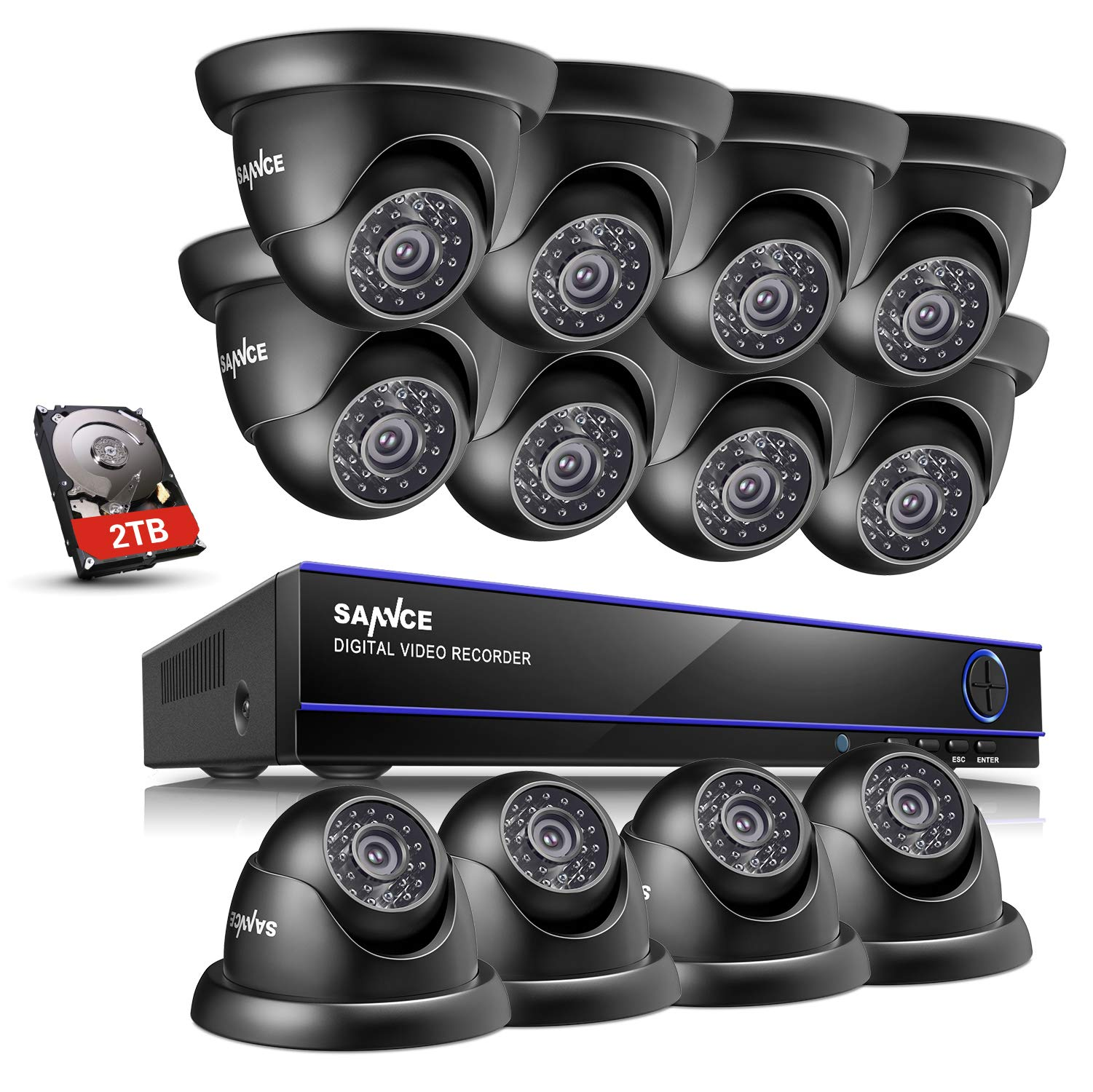 SANNCE 2TB HDD 16-Channel 1080N DVR Video Surveillance System W/ 12 1080P Hi-Resolution Weatherproof Color CCTV Camera…