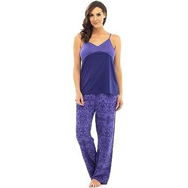 3d3f3a9959 Ladies Pyjama Set Camisole Top Long Trouser Bottoms Lilac Purple White Size  8-18: Amazon.co.uk: Clothing