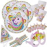 BETOY Set di Articoli per Feste Unicorno e Set di stoviglie 36 Pezzi, Kit di Decorazioni di Compleanno per Ragazze - Tovaglio