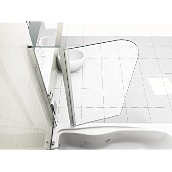 HNNHOME 180° Pivot Double Panel Over Bath Shower Screen 6 mm Glass ...