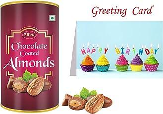 Effete Chocolate Coated Roasted Almond Chocolate - 96 Grams   Happy Birthday Greeting Card   Happy Birthday Combo