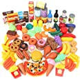Magicfun 139 Piezas Juguetes de Comida, Alimentos Juguetes Plástico de Cocina Gran Variedad de Frutas y Verduras, Juguete Imi
