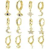 YADOCA 6 paia di orecchini Huggie per le donne Cuore CZ Star Moon Evil Eye Ciondola Orecchini a cerchio carino Set