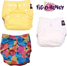 Fig O Honey Reusable One Size Baby Cloth Diapers | Multi-Color Baby Cloth Nappy with Free Absorbent Inserts | Washable Elastic Cloth Diapers | Reusable Elastic Printed Cloth Diapers | ( Vanilla, Sunshine Yellow & Yarnball Print Combo )