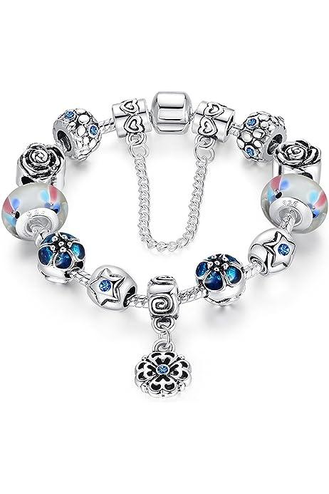 A TE/® JWB107 Bracelet Charm Perles fleurs de verre et /émail cha/îne de s/écurit/é pour femme 18/cm//20/cm