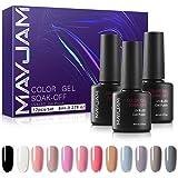 MAYJAM Esmalte de Uñas de Gel UV LED 12 Colores Esmaltes Semipermanentes Gel Uñas Secado Rapido Soak off Pintauñas para Manic