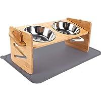 Ciotole Rialzate per Cani e Gatti Altezza Regolabile Porta Ciotole Rialzato in Bambù con 2 Ciotole in Acciaio…