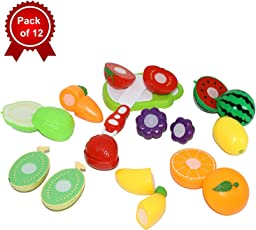 ORCUS Basics Realistic Sliceable Fruits Cutting Play Toy Set with Velcro for Kids (Pack of 12)