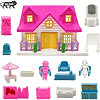 NHR Small Doll House Set for Girls Kids ,Foldable & Openable Door with Furniture , 100% Non-Toxic BPA Free Plastic…