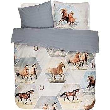 Pferde Bettwäsche Mako Satin Pferde im Galopp braun