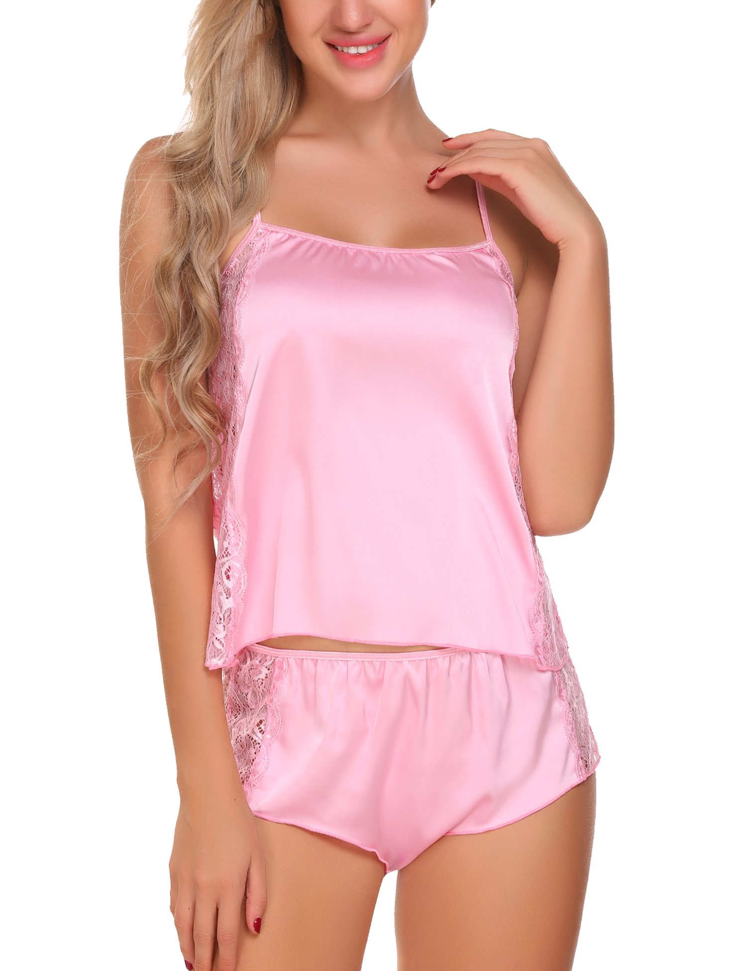 e53ad57362 Women's Satin Nightdress Negligee Babydoll Lace Lingerie Sleepwear V Neck  Spaghetti Straps Dress with G-String Sleepwear. Avidlove Nachtwäsche Damen  ...