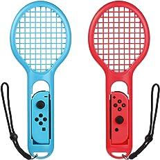 Bestico Racchetta da Tennis per Nintendo Switch Joy-Con per Mario Tennis Aces giochi(2 pezzi)Rosso+Blu