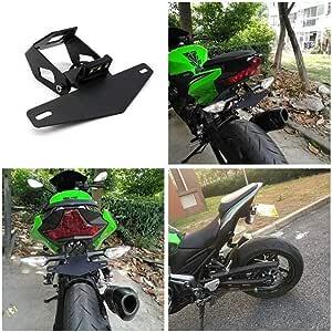 Motorrad Nummernschildrahmen Mit Licht Fit For Kawasaki Ninja250 400 Z900 Z650 Unterstützung Plaque Moto Kennzeichenhalter Color Black Auto