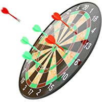 eErlik Indoor and Outdoor Magnetic Score Dartboard Kit with 6 Soft Darts (17 Inch, Multicolour)