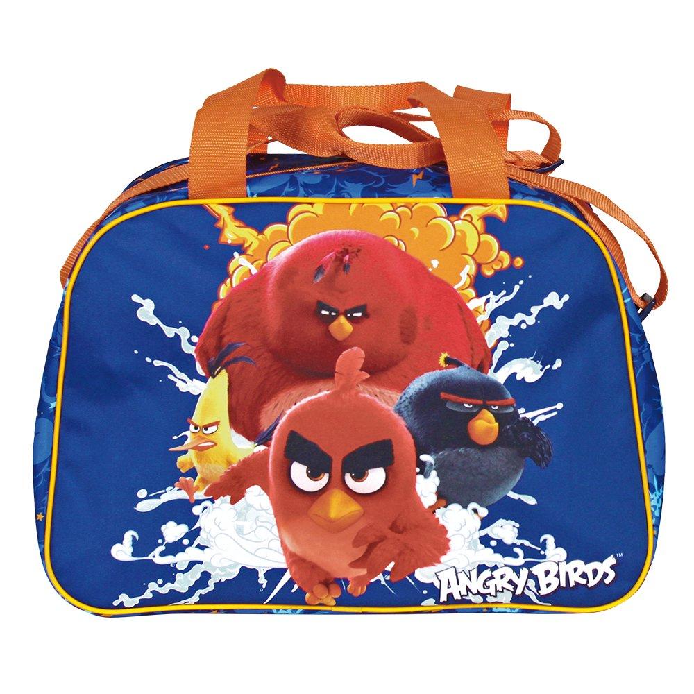 714V%2BzxLfaL - PERLETTI Bolso Deportivo Niño Angry Birds Azul Naranja – Bolsa de Deporte Infantil con Red Bomb Chuck y Terence para el Gimnasio Viajes Escuela Sport - Azul - 28x41x21 cm