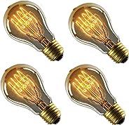 Sister-A Vintage Light Bulbs Filament Light Bulbs Edison bulbs A19 E27 40W Dimmable Squirrel Cage Filament Edison Light Bulb