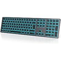 seenda Beleuchtete Bluetooth Tastatur mit 7 Farbige Beleuchtung, Wiederaufladbare Ultraslim QWERTZ Funktastatur mit 4…