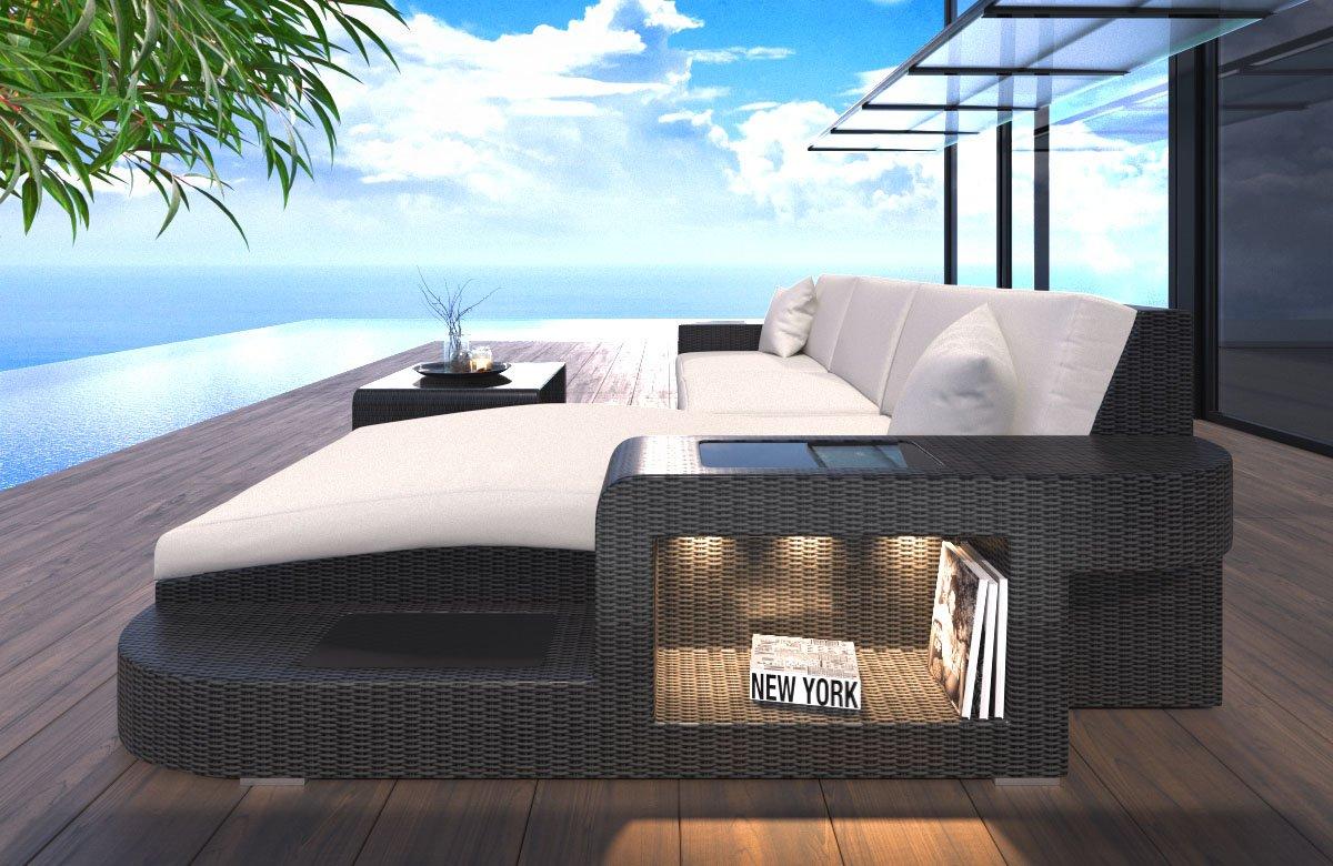 Sofa Rattan Wave L-Shape with LED