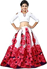 SWAGAT SAREE Girl's Rose Printed Banglory Satin Semi Stitched Lehenga Choli for 12-16 Years (White and Pink, 43105)