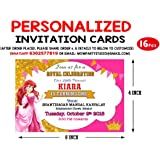 WoW Party Studio Personalized Royal Pink Princess Theme Invitation Cards with Birthday Boy/Girl Name (16 Pcs)