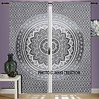 Juego de cortinas de mandala de color gris y blanco para colgar en la pared, de algodón, para ventanas, hippie indio, estilo bohemio, con diseño de ombre-mandala, para colgar en la pared, decoración de ventanas, cortinas para habitación