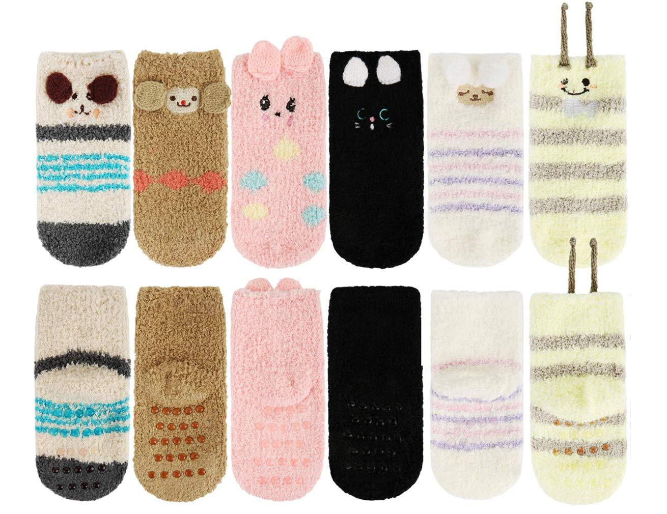 Z-Chen Pack de 6 Pares Calcetines Antideslizantes de Invierno para Bebé Niños Niñas Infantil, Set B, 1-3 Años 2