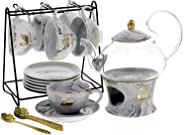 Liying 22-Piece Porcelain Ceramic Coffee Tea Gift Sets, Cups& Saucer Service for 6, Teapot with Lid Cover and Strainer,1 War