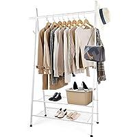 Portant Vêtements - Amzdeal Porte-manteau avec 2 étagères et 4 crochets latéraux ,162x 45 x 106cm, charge totale 125kg…